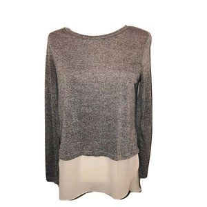 Ann Taylor Loft Sweater Button Back Gray Blouse